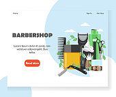Barbershop vector website landing page design template