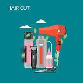 Hair cut vector flat style design illustration