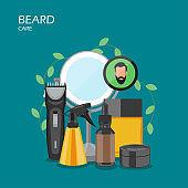 Beard care vector flat style design illustration