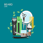 Beard care vector flat illustration. Hair shaving machine, mirror, comb, aftershave, straight razor, shaving brush with foam, scissors, shampoo. Barber supplies for beard grooming for website page etc