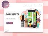 Navigator vector website landing page design template