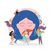 Hairdresser vector concept for web banner, website page