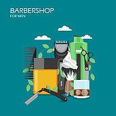Barbershop services vector flat style design illustration