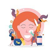 Face care vector concept for web banner, website page