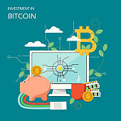 Investment in bitcoin concept vector flat illustration