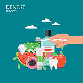 Dentist services vector flat style design illustration