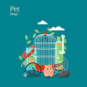 Pet shop vector flat style design illustration