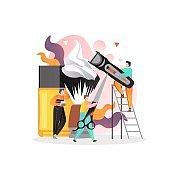 Barbershop vector concept for web banner, website page