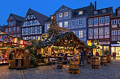Christmas market at Grosser Plan square in Old Town of Celle, Lower Saxony, Germany
