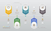 Infographics design template with icons, process diagram, vector eps10 illustration