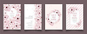 Set of cards with cherry blossom.