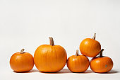 Orange Halloween pumpkins standing in line on white background