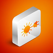 Isometric Sun with electric plug icon isolated on orange background. Energy saving concept. Silver square button. Vector Illustration