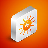 Isometric Solar energy panel icon isolated on orange background. Silver square button. Vector Illustration
