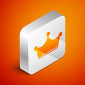 Isometric Crown icon isolated on orange background. Silver square button. Vector Illustration