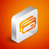 Isometric Credit card icon isolated on orange background. Online payment. Cash withdrawal. Financial operations. Shopping sign. Silver square button. Vector Illustration