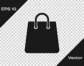 Grey Handbag icon isolated on transparent background. Shoping bag sign. Woman bag icon. Female handbag sign. Glamour casual baggage. Vector Illustration