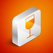 Isometric Wine glass icon isolated on orange background. Wineglass icon. Goblet symbol. Glassware sign. Silver square button. Vector Illustration