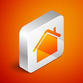 Isometric House icon isolated on orange background. Home symbol. Silver square button. Vector Illustration