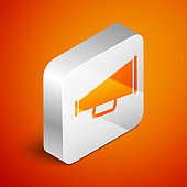 Isometric Megaphone icon isolated on orange background. Silver square button. Vector Illustration