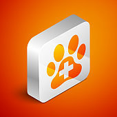 Isometric Veterinary clinic symbol icon isolated on orange background. Cross hospital sign. A stylized paw print dog or cat. Pet First Aid sign. Silver square button. Vector Illustration