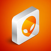 Isometric Alien icon isolated on orange background. Extraterrestrial alien face or head symbol. Silver square button. Vector Illustration