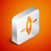 Isometric Kayak and paddle icon isolated on orange background. Kayak and canoe for fishing and tourism. Outdoor activities. Silver square button. Vector Illustration