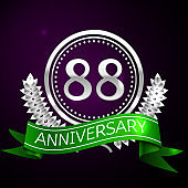 Eighty eight Years Anniversary Celebration design banner. Silver ring and green ribbon on purple background. Colorful Vector template elements for your birthday party