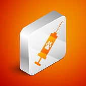 Isometric Syringe with pet vaccine icon isolated on orange background. Dog or cat paw print. Silver square button. Vector Illustration