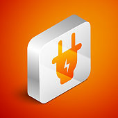 Isometric Electric plug icon isolated on orange background. Concept of connection and disconnection of the electricity. Silver square button. Vector Illustration