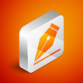 Isometric Fountain pen nib icon isolated on orange background. Pen tool sign. Silver square button. Vector Illustration
