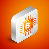 Isometric CPU mining farm icon isolated on orange background. Bitcoin sign inside microchip. Cryptocurrency mining community. Digital money. Silver square button. Vector Illustration