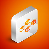Isometric Blockchain technology icon isolated on orange background. Cryptocurrency data sign. Abstract geometric block chain network technology business. Silver square button. Vector Illustration