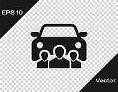 Grey Car sharing with group of people icon isolated on transparent background. Carsharing sign. Transport renting service concept. Vector Illustration