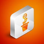 Isometric Dollar plant in the pot icon isolated on orange background. Business investment growth concept. Money savings and investment. Silver square button. Vector Illustration
