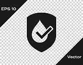 Grey Waterproof icon isolated on transparent background. Water resistant or liquid protection concept. Vector Illustration
