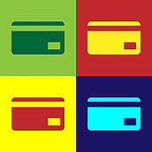 Color Credit card icon isolated on color backgrounds. Online payment. Cash withdrawal. Financial operations. Shopping sign. Flat design. Vector Illustration