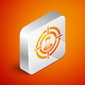 Isometric Head hunting concept icon isolated on orange background. Business target or Employment sign. Human resource and recruitment for business. Silver square button. Vector Illustration