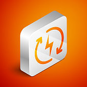 Isometric Recharging icon isolated on orange background. Electric energy sign. Silver square button. Vector Illustration