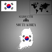 South Korea outline world map, contour silhouette with national flag inside vector illustration creative design, isolated on background, objects, element, symbol from countries set.