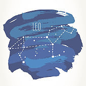 Leo Zodiac sign hand drawn constellation