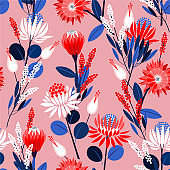 Blooming protea flowers in the garden full of botanical plants seamless pattern in vector design for fashion,web,wallpaper,wrapping and all prints