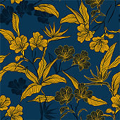 Stylish Seamless pattern line botanic flowers and plants in the dark garden mood Vector illustration.Design for fashion web, wallpaper, wrapping , fabric and all prints