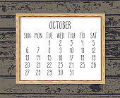 October year 2019 monthly calendar