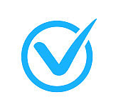 Check mark correct icon. Blue checkmark in circle for checklist. Ok button, checkbox flat style isolated. Blue tick symbol. vector eps10