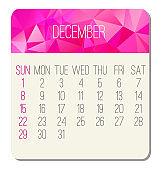 December year 2019 monthly calendar