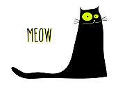 Funny sitting black cat