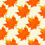 Watercolor maple leaves pattern