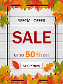 Autumn sale template background  for website with frame, seasonal fall leaves and wood. Special offer, autumn sale, discount banner. shopping discount promotion for web. vector eps10