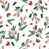 Holiday seamless vector green and red colors pattern with leaves and berries for Christmas seasonal, Design for fashion, wrapping,wallpaper and all prints